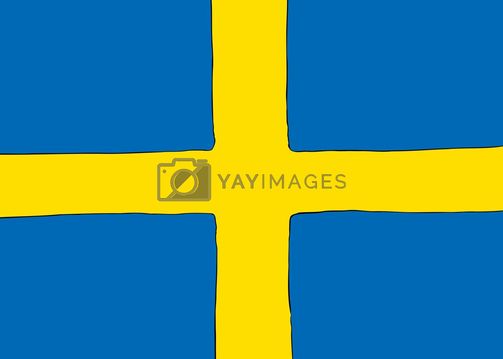 Symmetrical centered version of a Nordic Cross flag representing Sweden