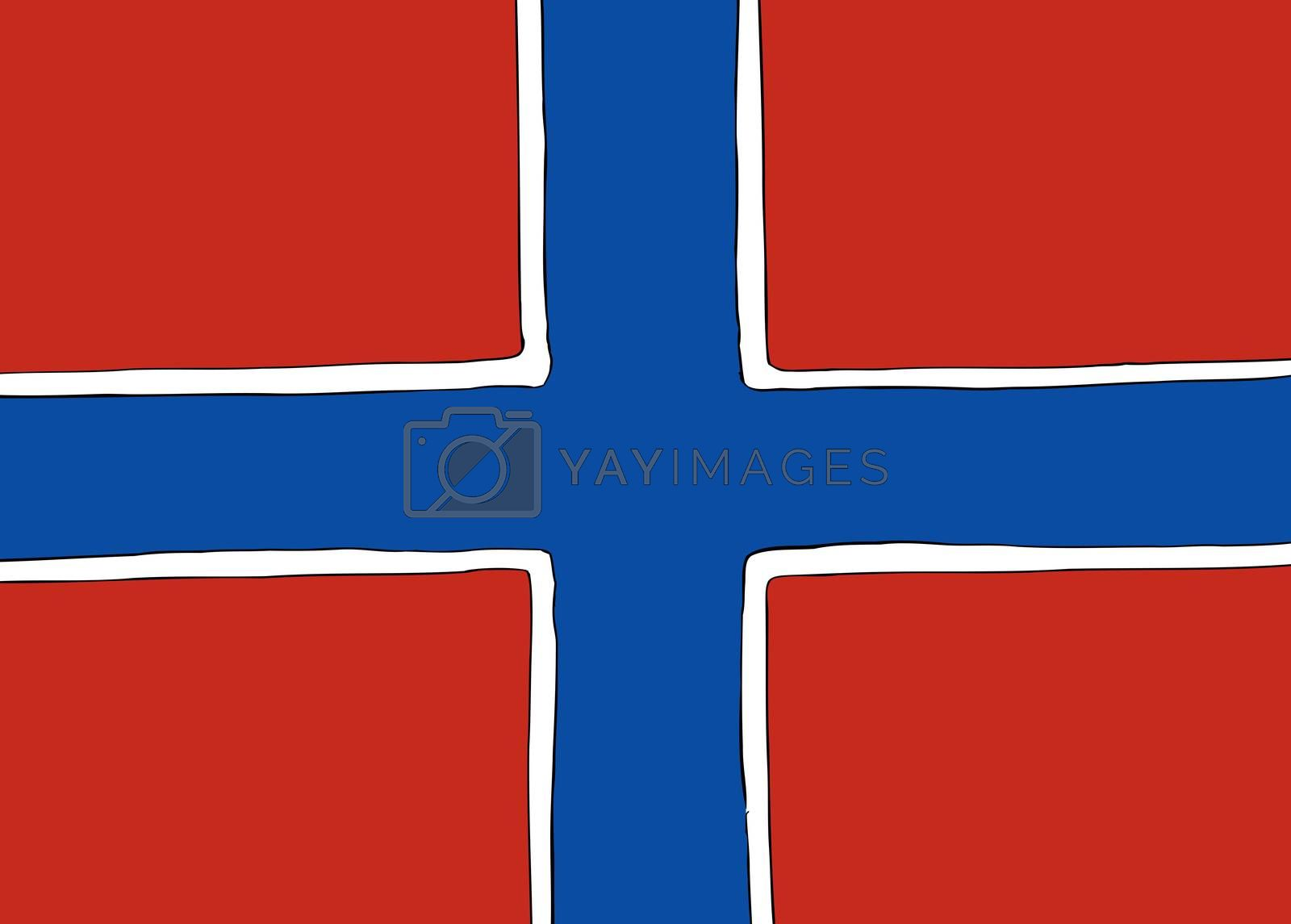 Symmetrical centered version of a Nordic Cross flag representing Norway