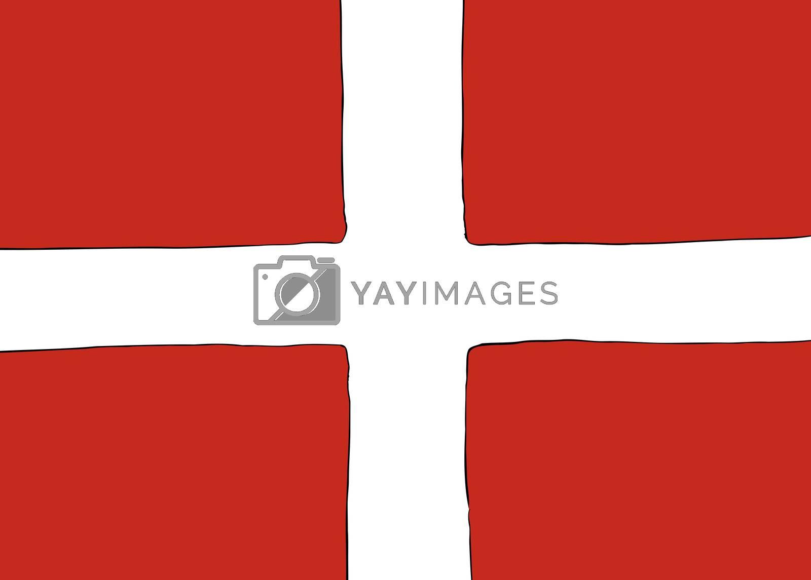 Symmetrical centered version of a Nordic Cross flag representing Denmark