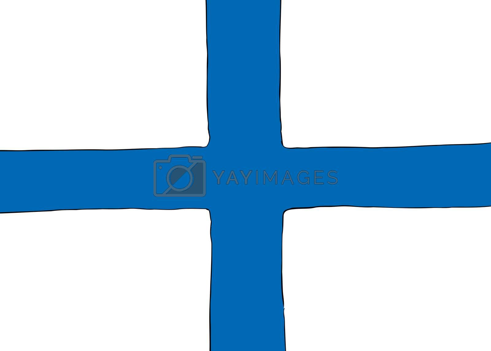 Symmetrical centered version of a Nordic Cross flag reprsenting Finland