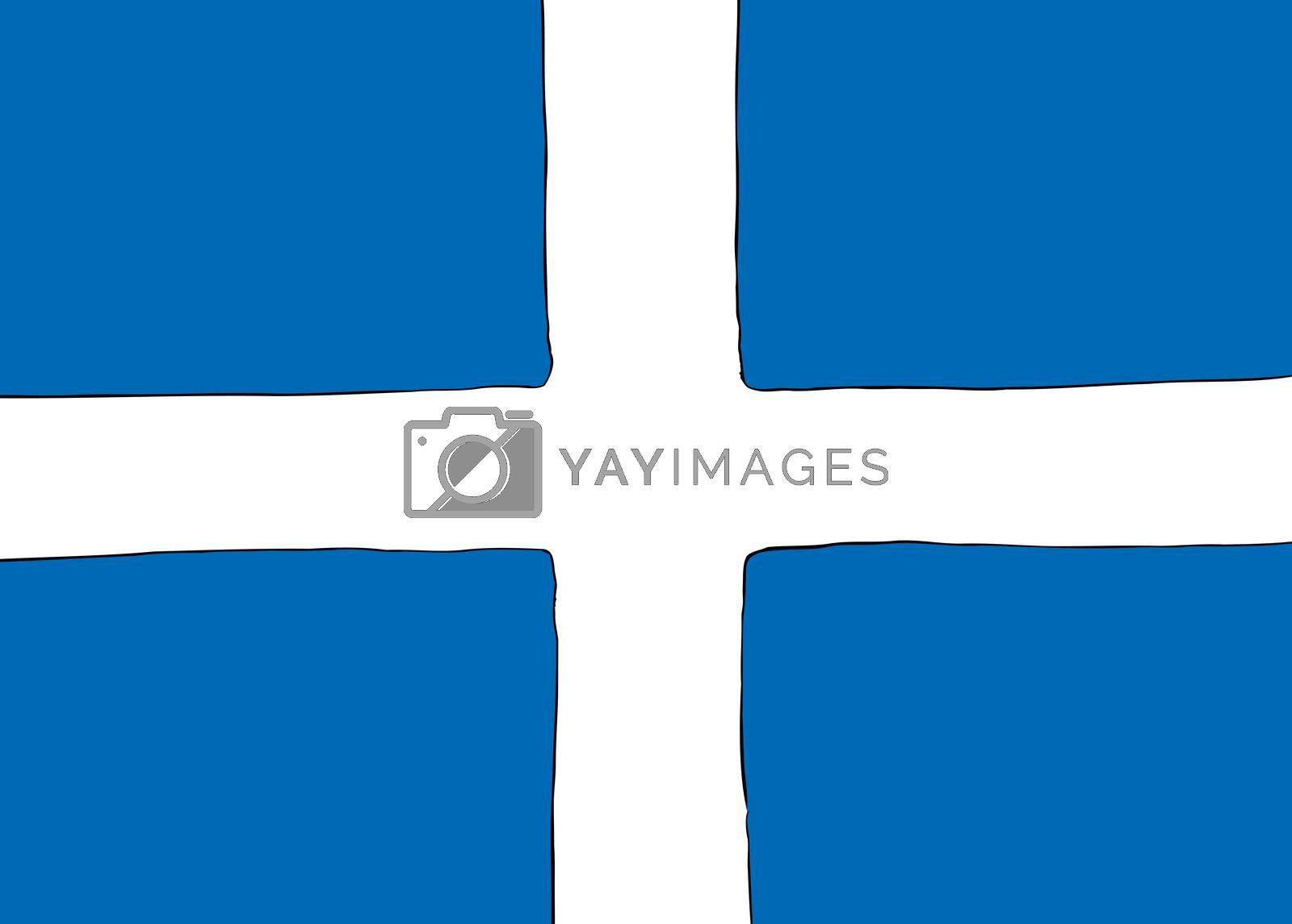 Symmetrical centered version of a Nordic Cross flag representing the Shetland Islands