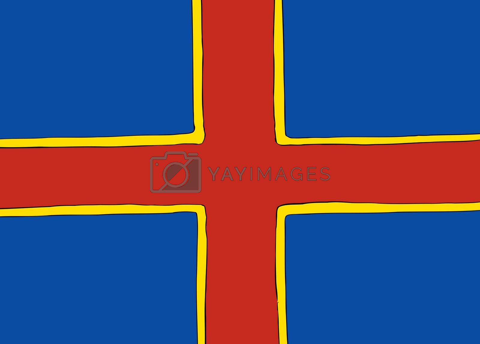 Symmetrical centered version of a Nordic Cross flag representing Ahvenanmaa