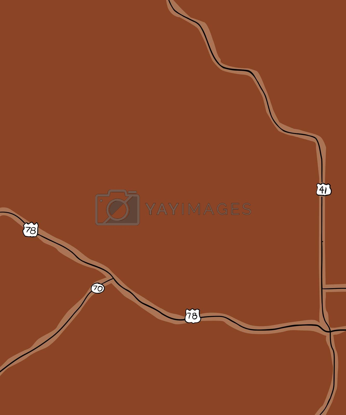 Brown hand drawn map of county roads for part of Georgia in the United States