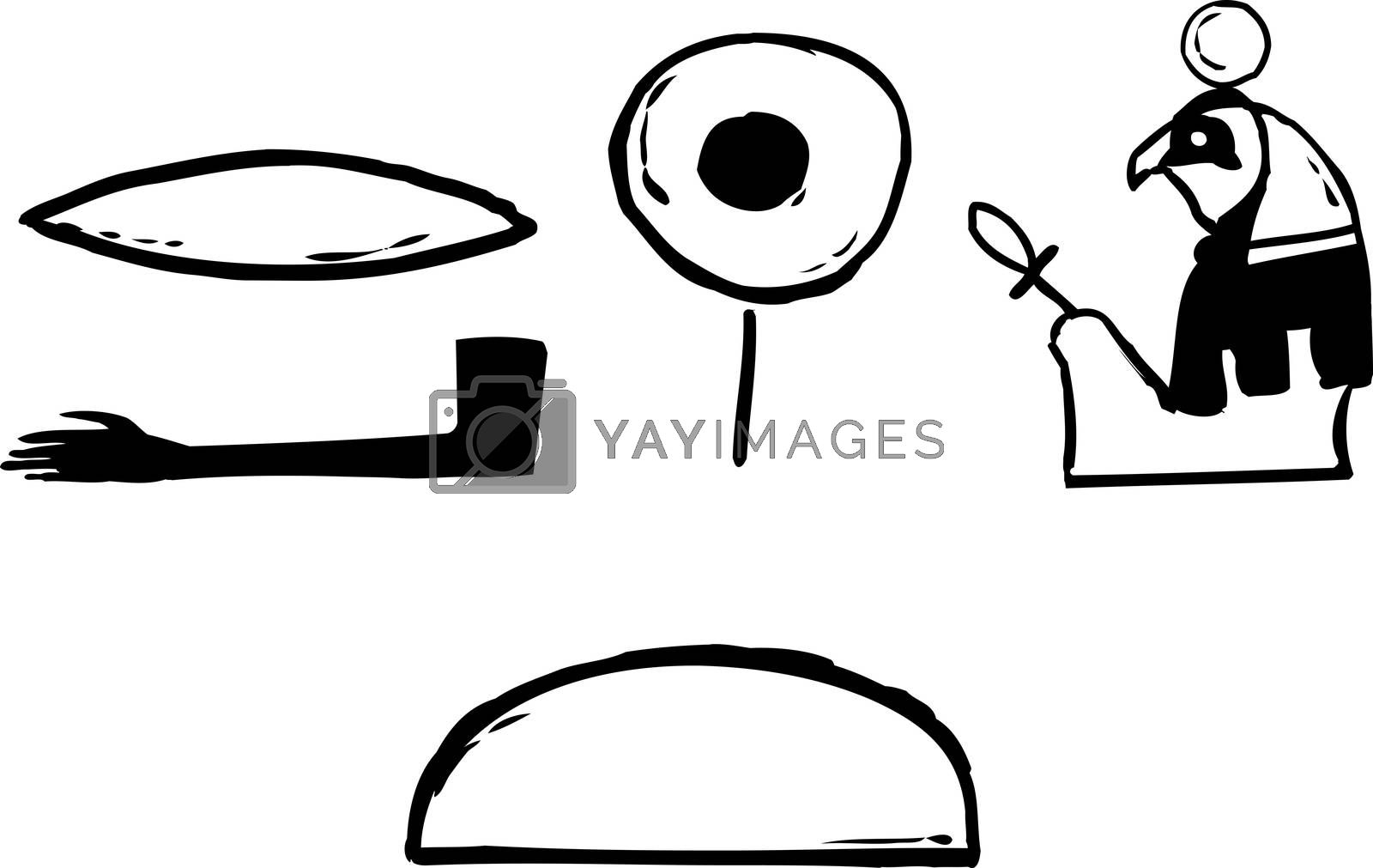 Outlined ancient Egyptian hieroglyphics of Rah and phonetics over isolated white background