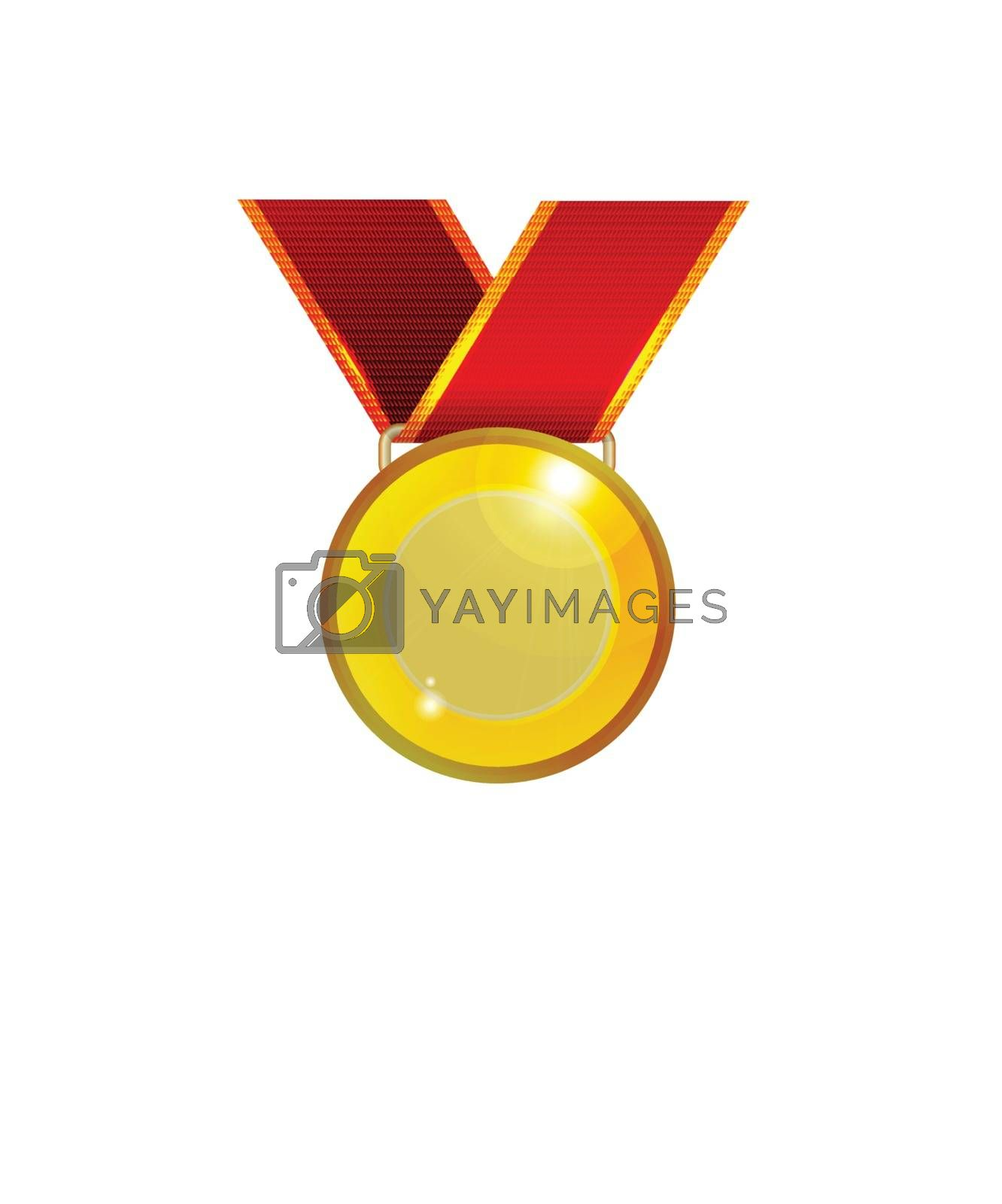 Golden medal with red ribbon. Vector illustration on white background