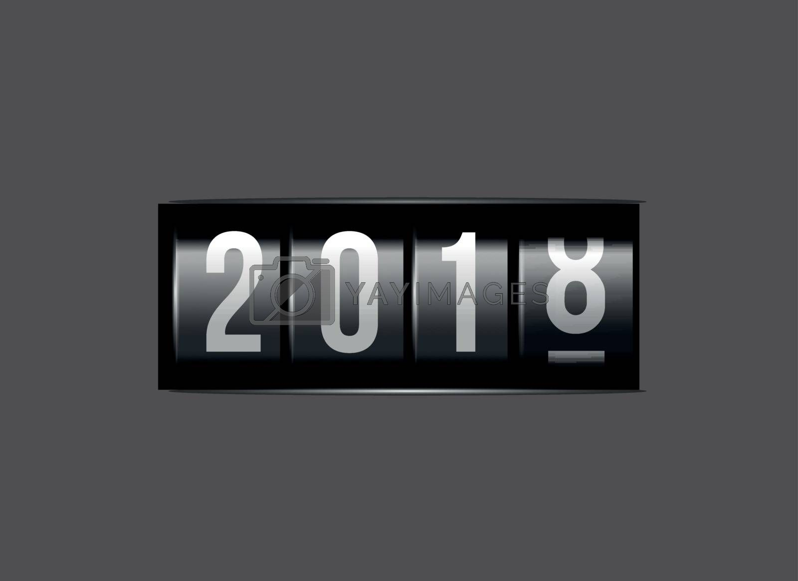 Congratulations on the New Year 2018 against the counter. Vector illustration