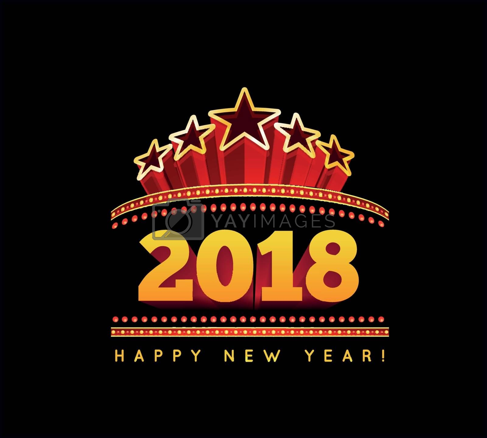 New Year marquee 2018. Vector illustration on black