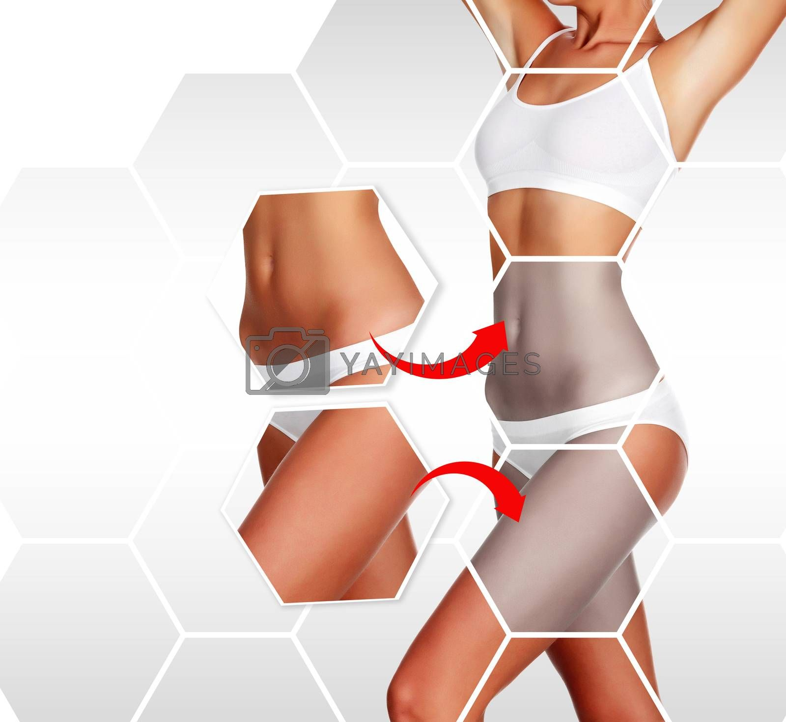 Beautiful woman's body against a grey background with copyspace. Body treatment concept