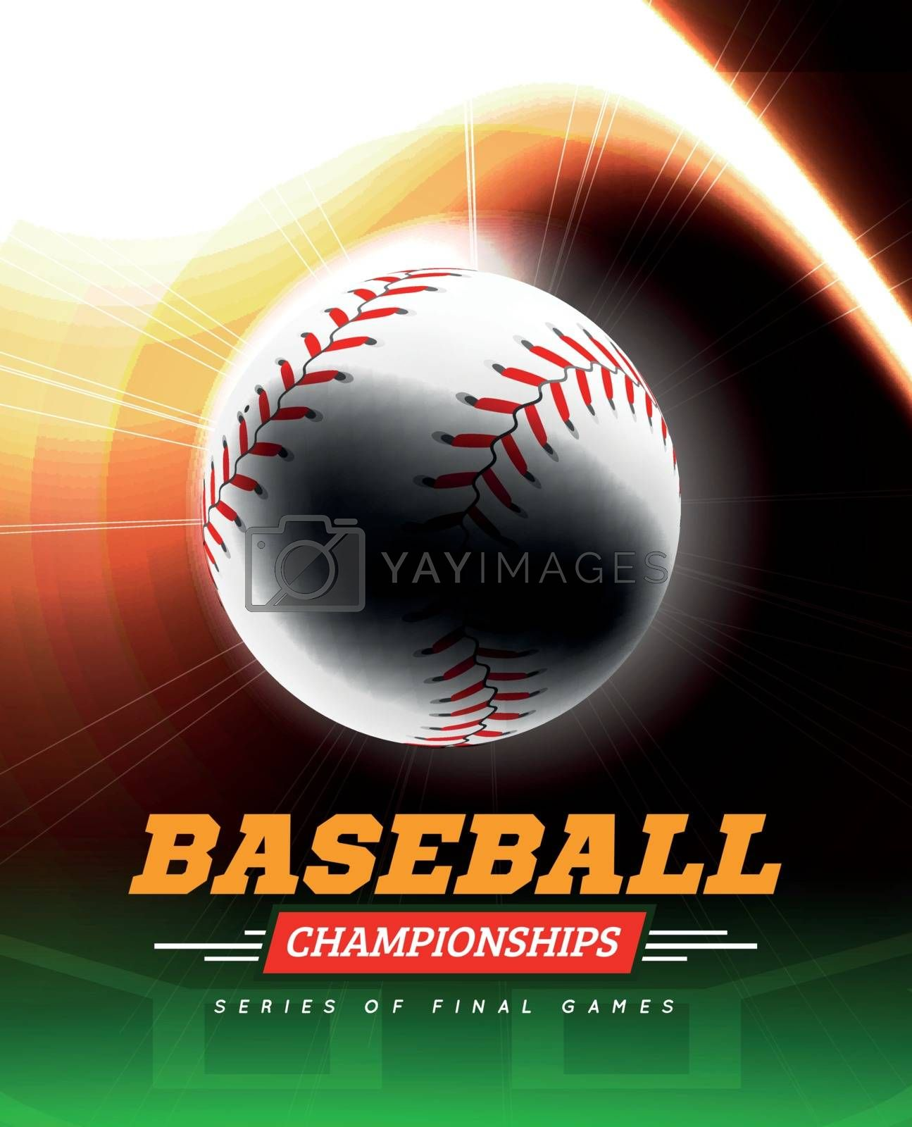 Baseball in the backlight on a black background with a flight path in the form of a light beam. Vector illustration