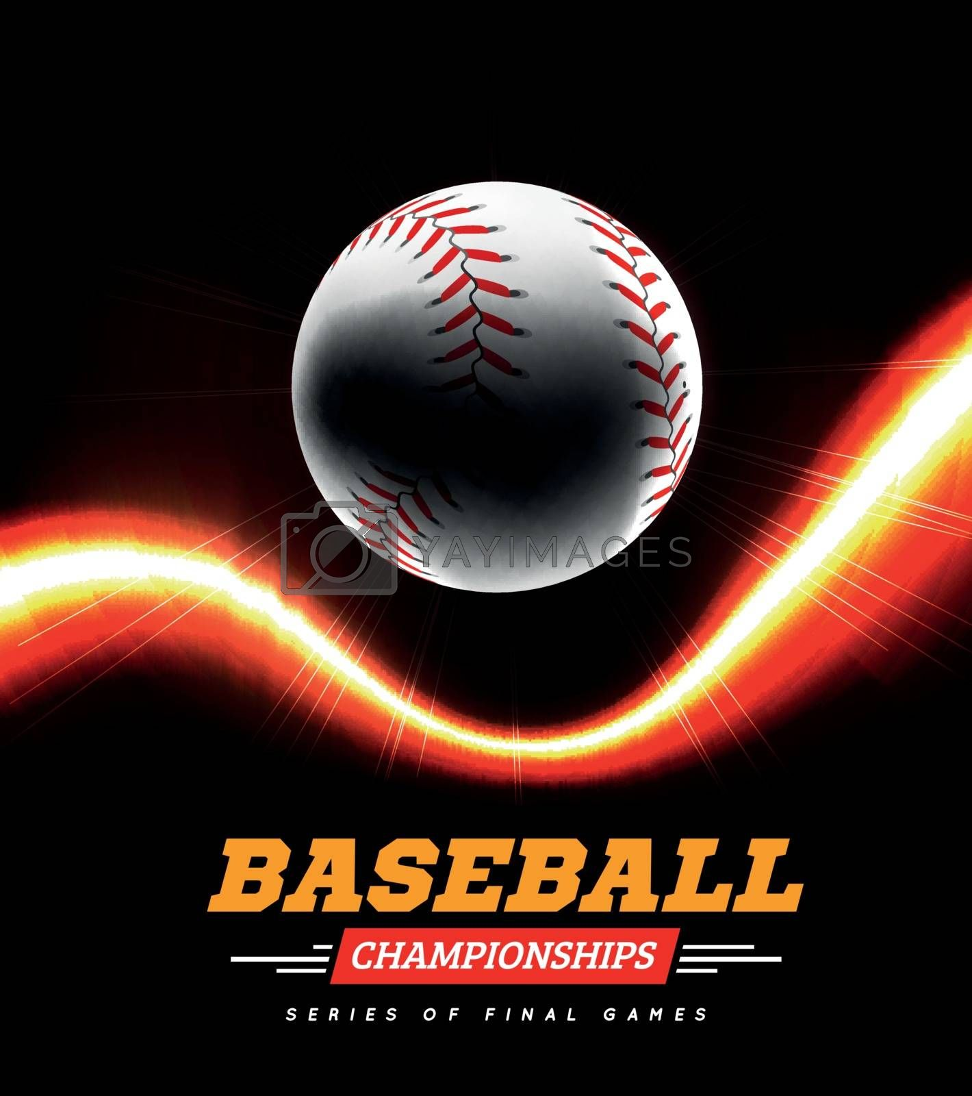 Royalty free image of Baseball in the backlight on a black background with a flight path in the form of a light beam. by sermax55
