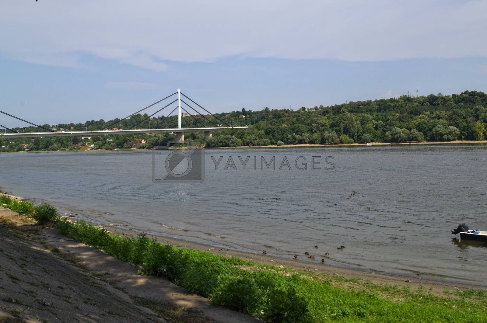 View at bridge and other side of Danube in Novi Sad Serbia Royalty Free Stock Image Stock
