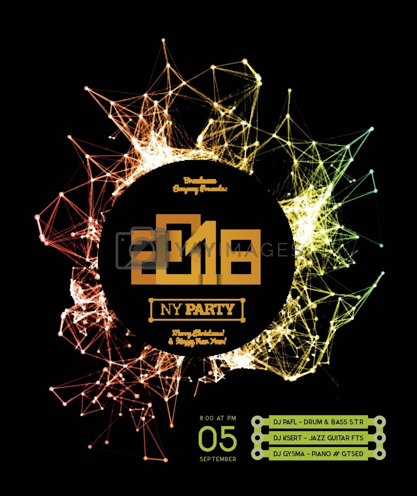 Invitation to the New Year party of 2018. Plexus style vector illustration