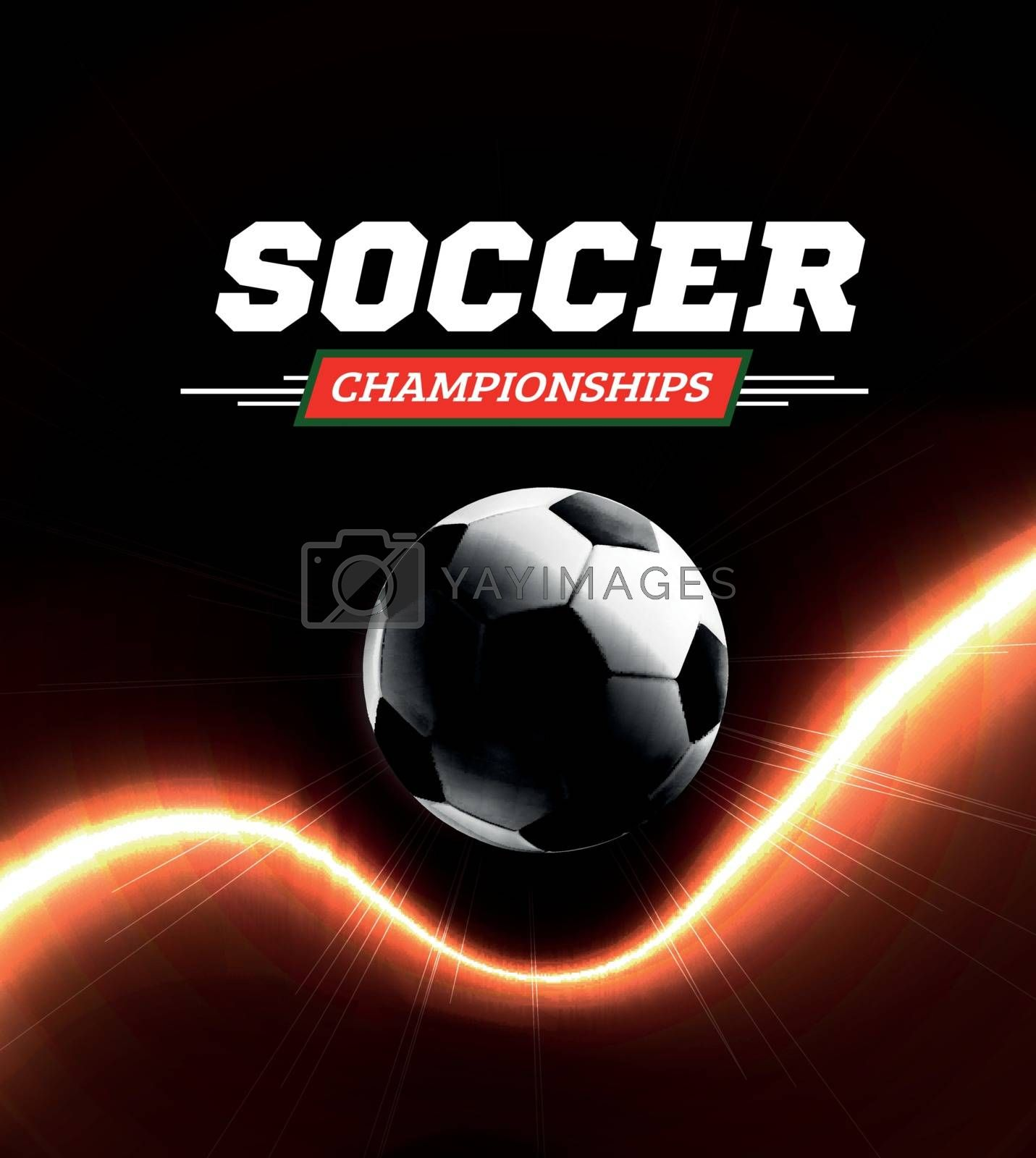 Royalty free image of Soccer or football ball in the backlight on black background. Vector illustration by sermax55