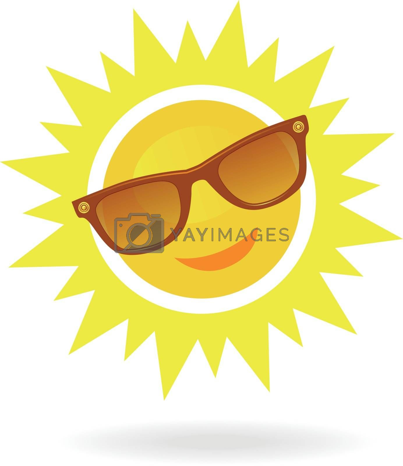 Cheerful, smiling cartoon sun in sunglasses on white background. Can be used as an concept to a solar eclipse. Vector illustration