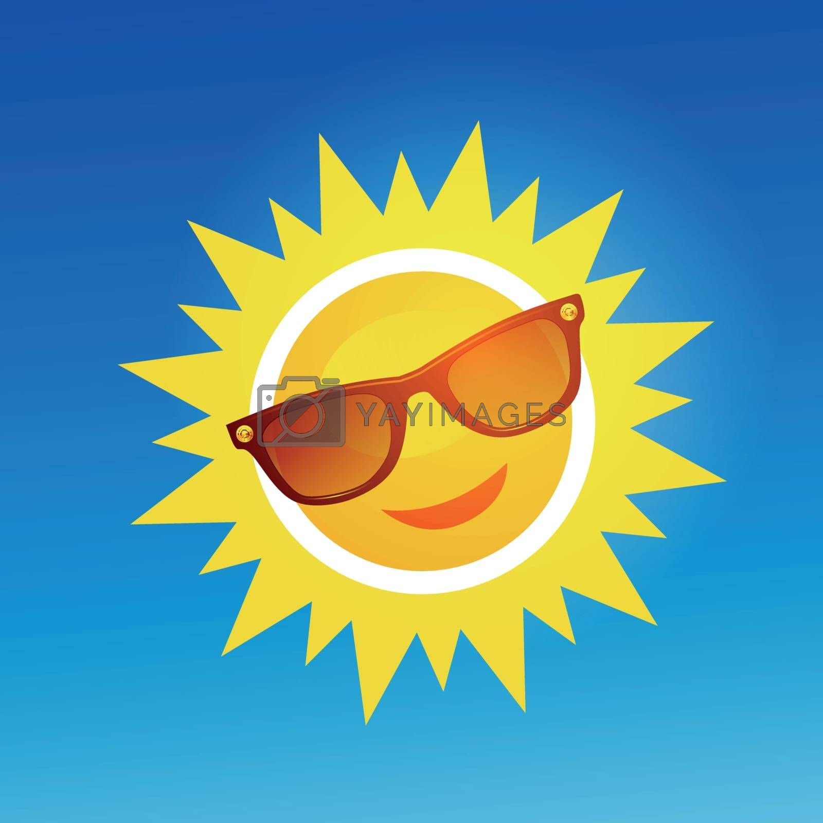 Royalty free image of Cheerful, smiling cartoon sun in sunglasses on blue background. by sermax55