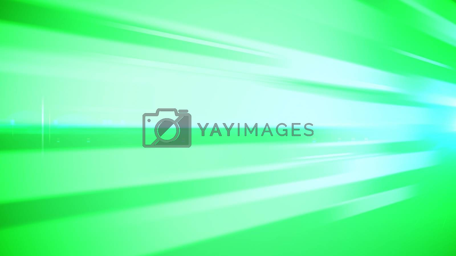 An inspiring 3d illustration of green, salad and white bar lines stirring people for flights of thought, noble and artistic decisions. The image has a psychodelic effect. It is placed askew.