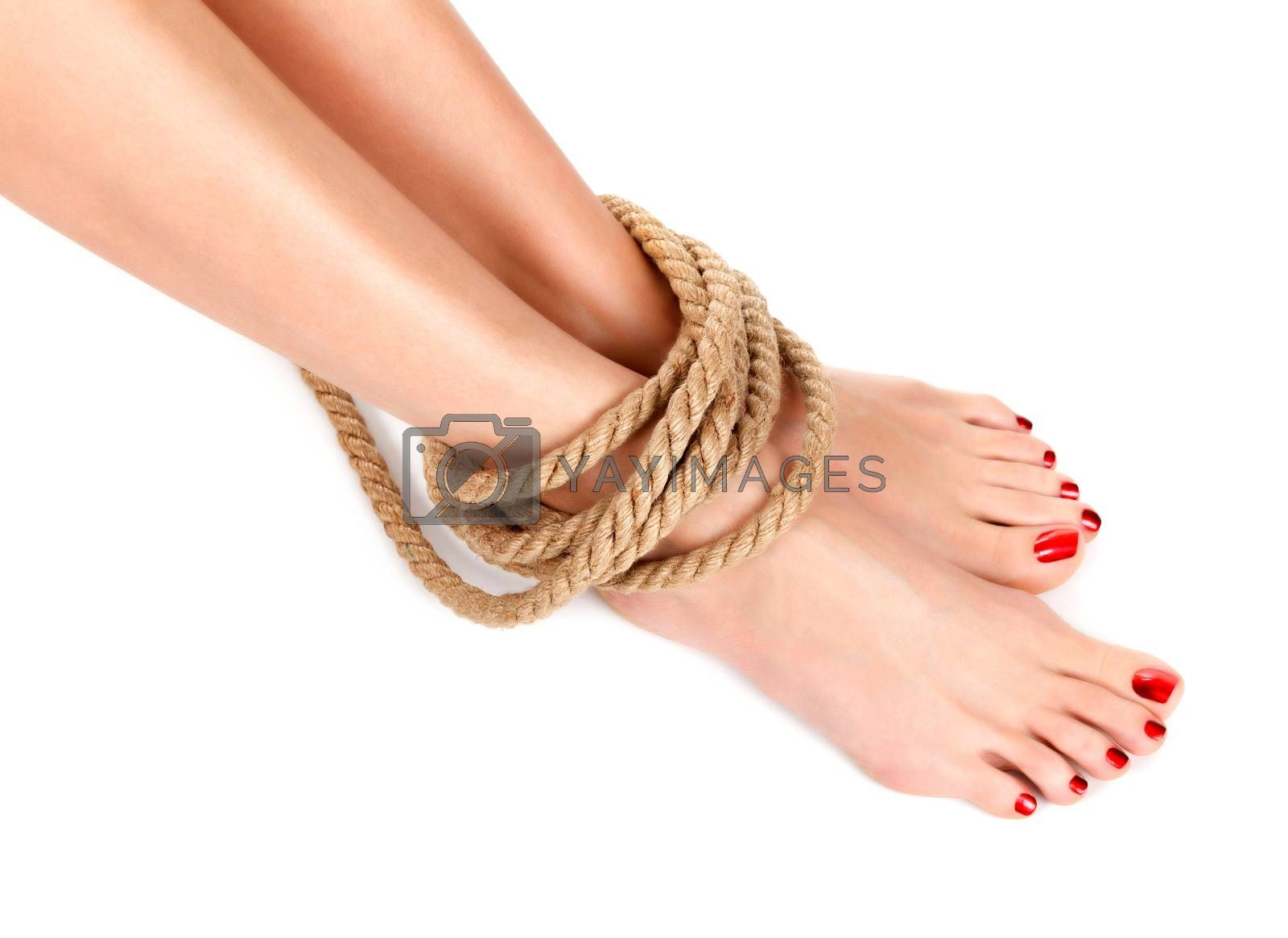Closeup shot of woman legs with the rope round them, pain concept, female ankles tied with rope, isolated on white background