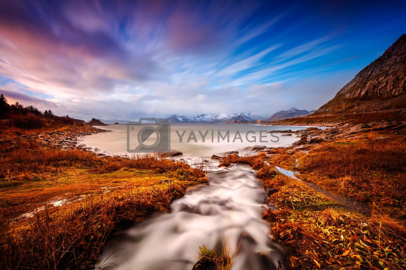 Beautiful landscape of Lofoten, amazing untouched lands and open sea, gorgeous wild nature scene, lying within the Arctic Circle, Nordland, Norway