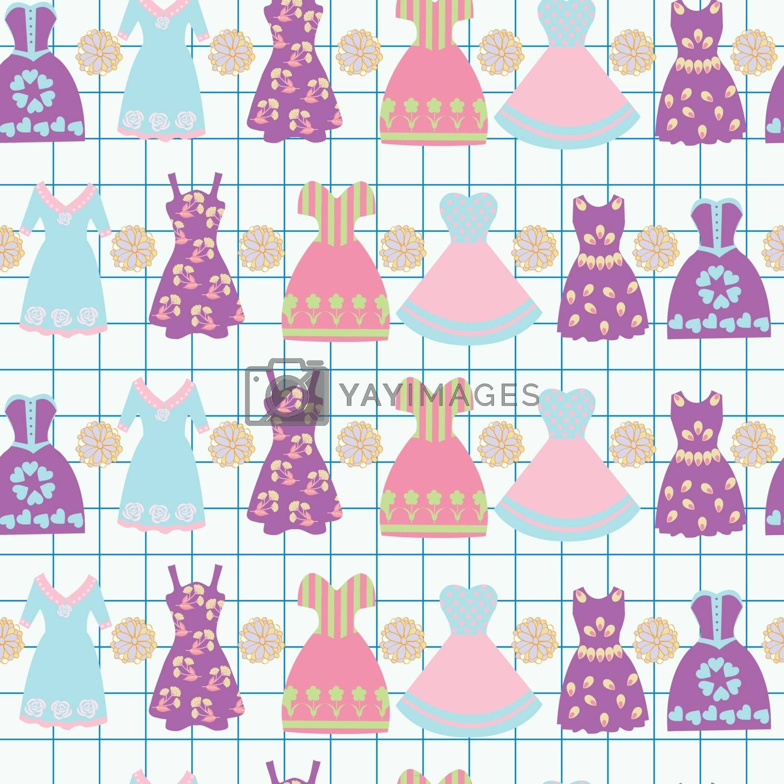 Vector illustration background  with various women's clothing fashion dresses. Graphic hand-drawn sketches cute of dresses seamless Pattern for decor, craft, paper