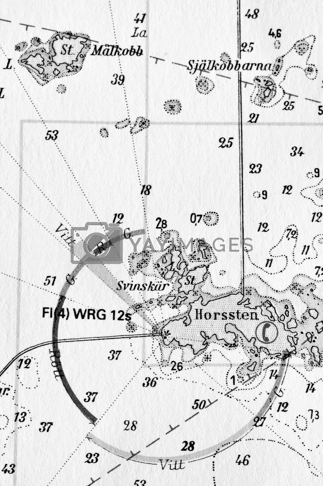 Royalty free image of Macro shot of a old marine chart, detailing Stockholm archipelago by a40757