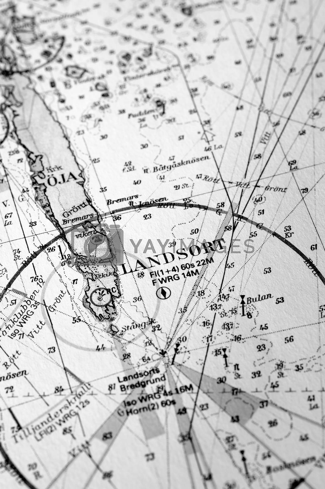 Macro shot of a old marine chart, detailing Stockholm archipelago