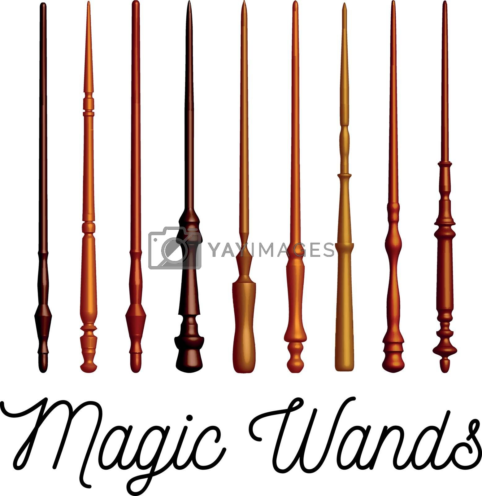 Royalty free image of Set of wooden magic wands on white background. Vector by sermax55