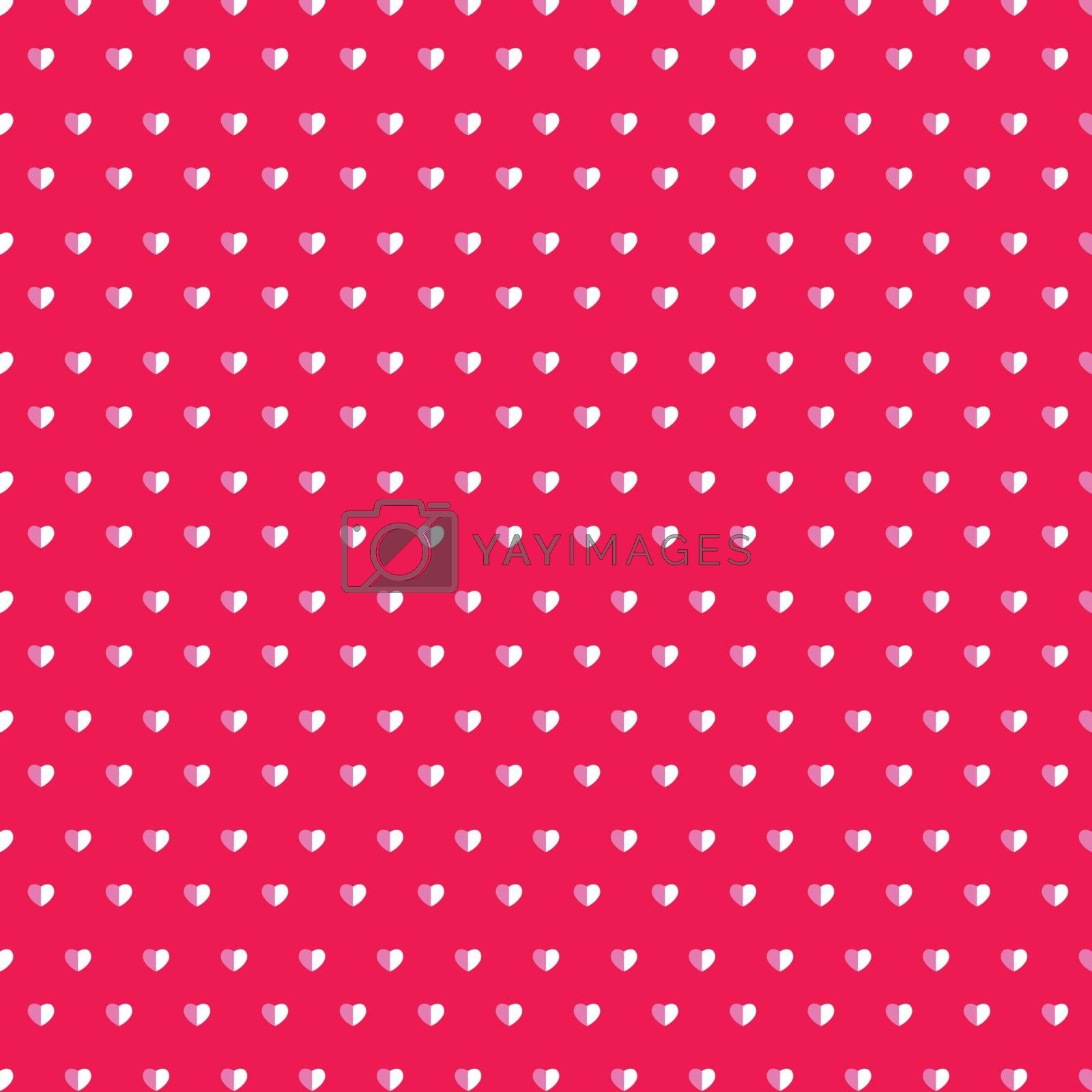 Happy valentines day white paper cut hearts pattern on pink background. vector illustration