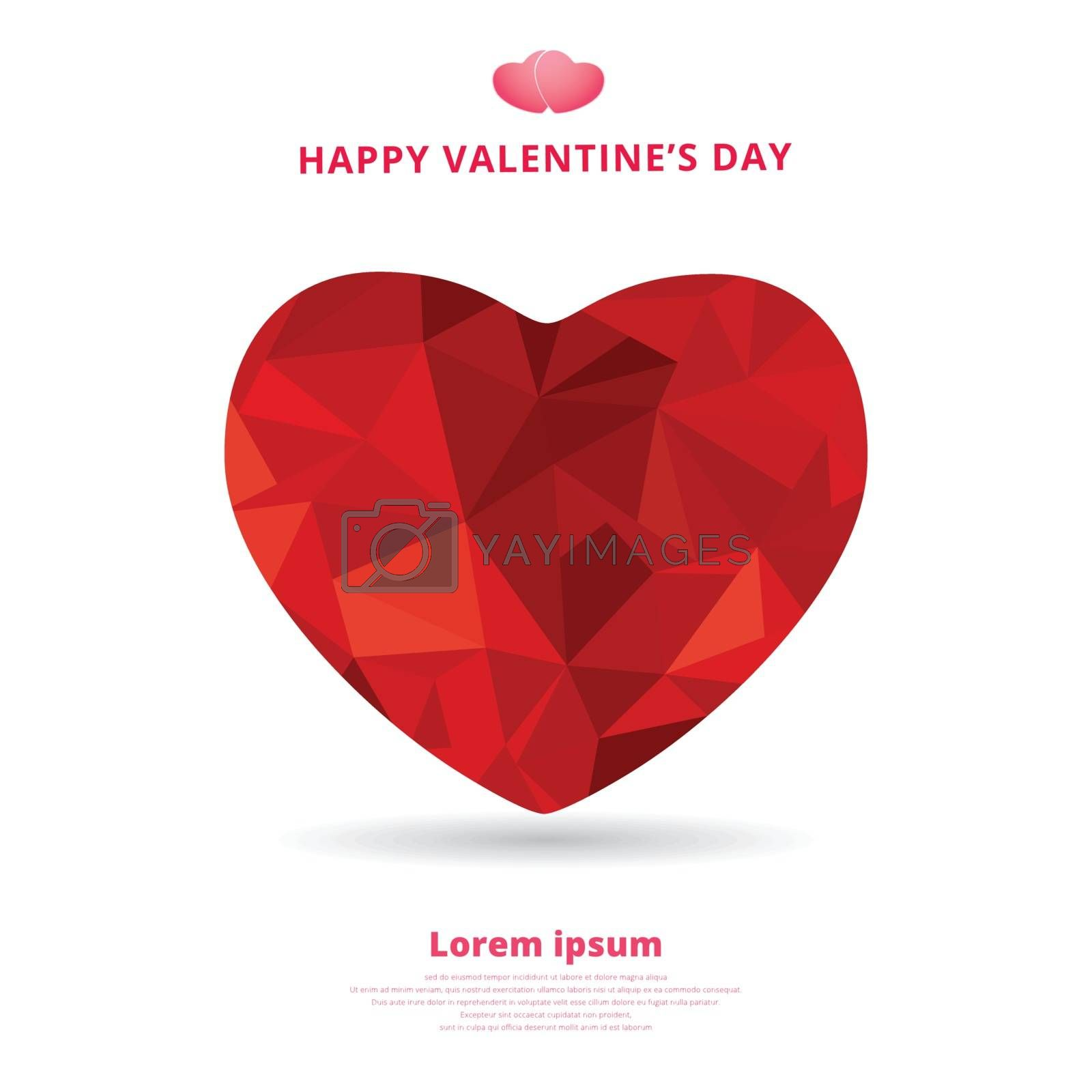 3d origami heart low polygon design shadow for valentines day. vector illustration.