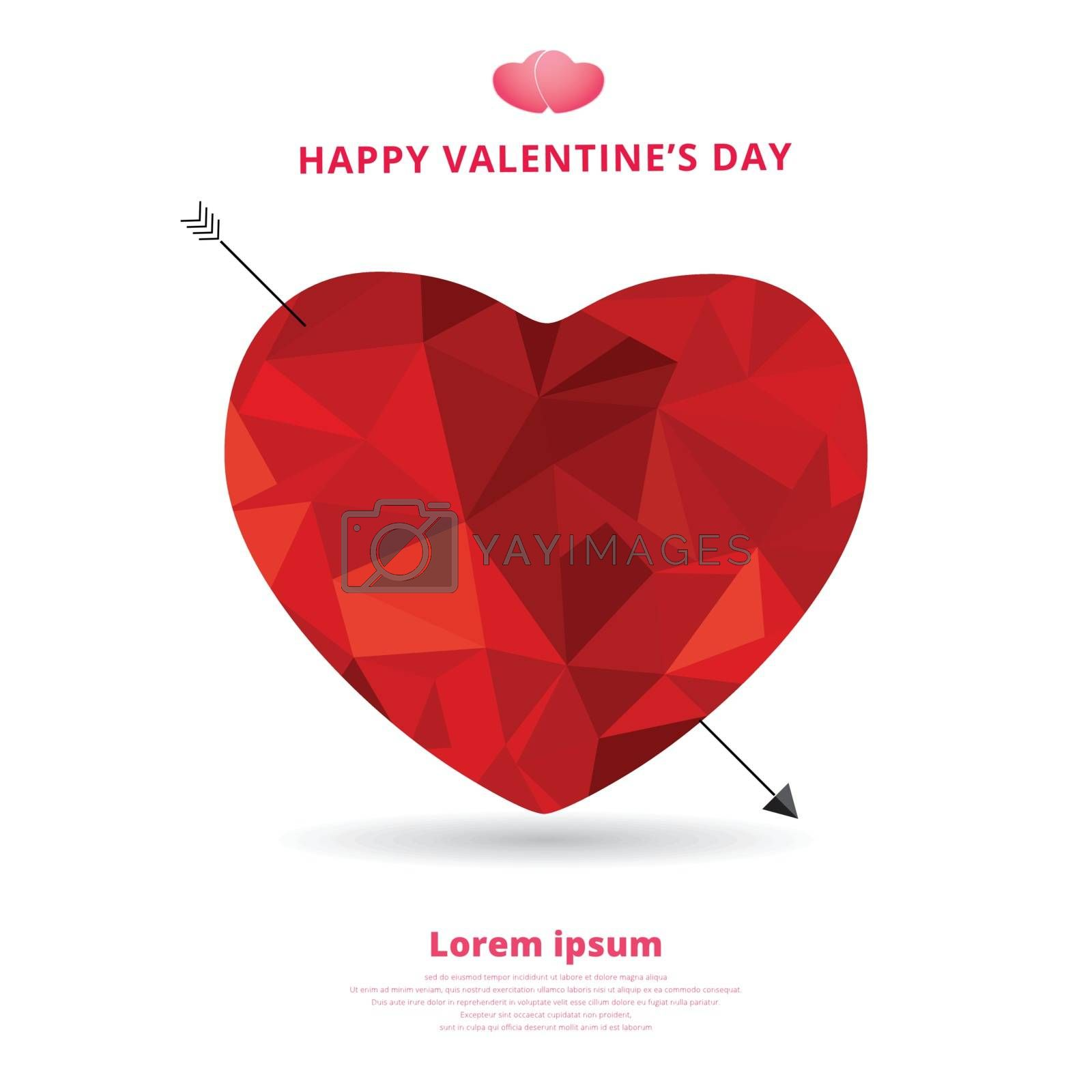 3d origami heart low polygon design with arrow and shadow for valentines day. vector illustration.