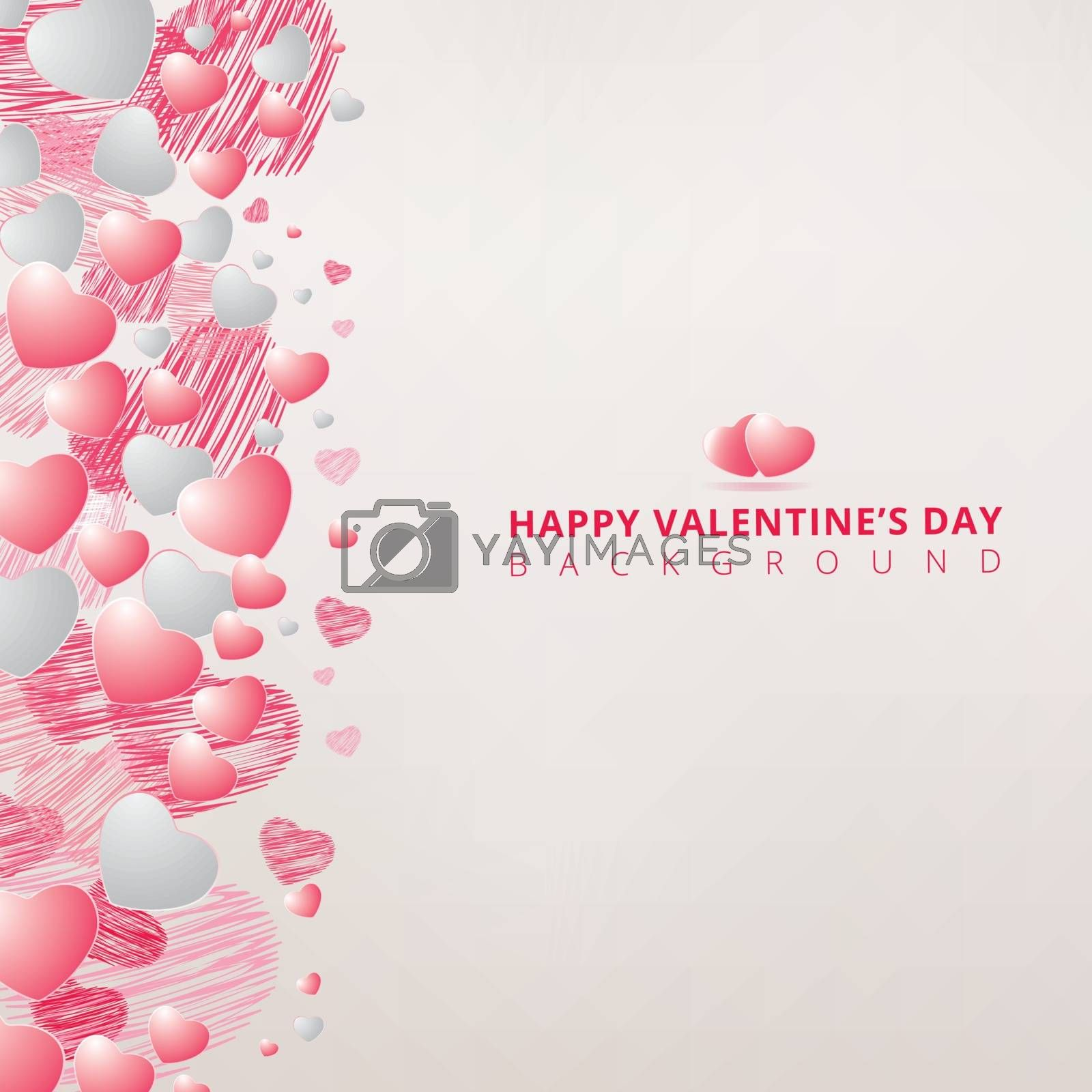 hand drawing hearts white and pink color on white background for valentines day copy space. Vector illustration