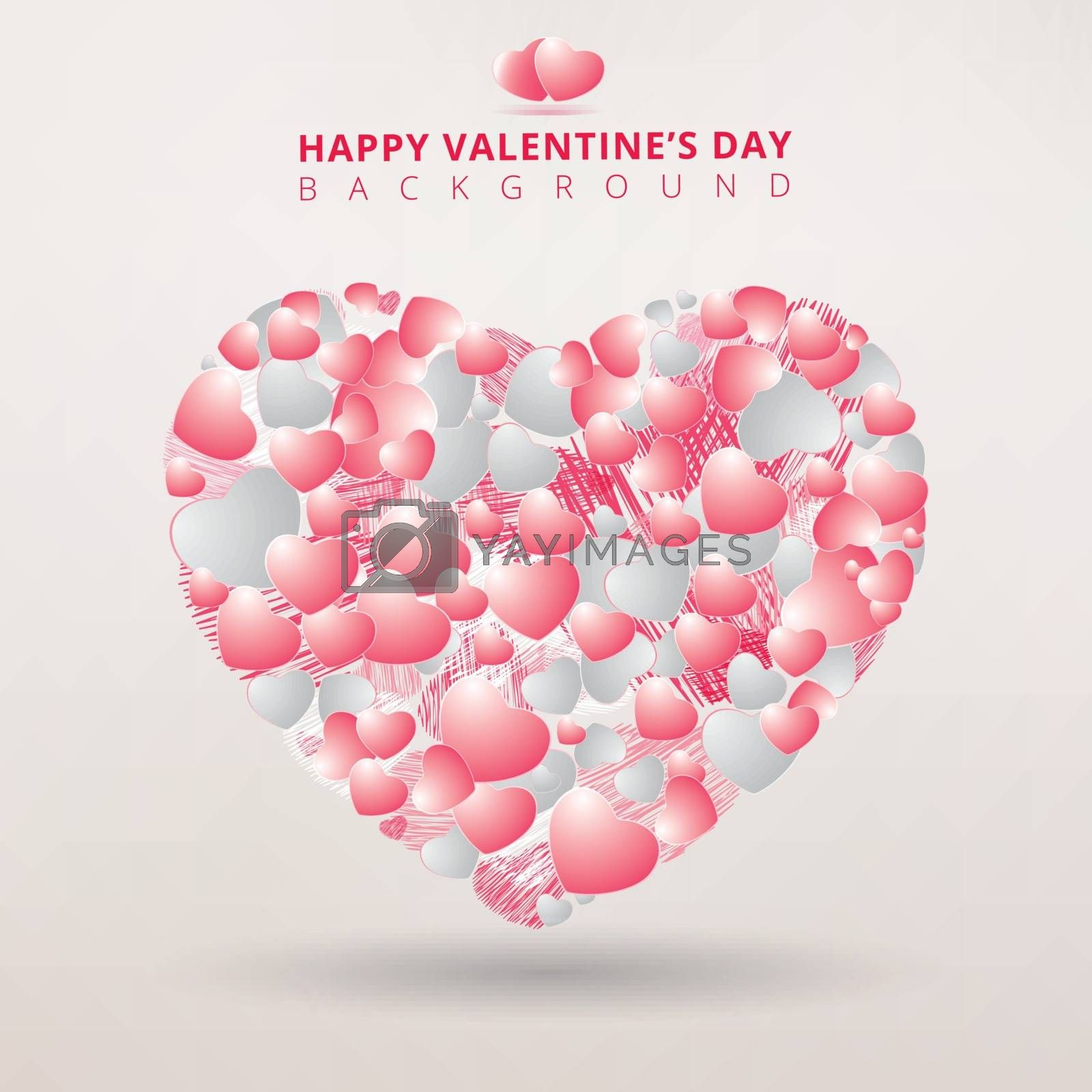 Valentines day and Decorative heart background with lot of hearts pink color on white background. Vector illustration.