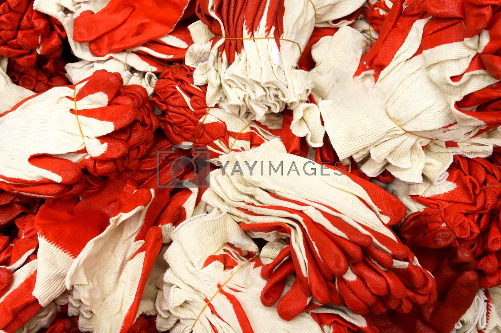 Closeup shot of big pile of work gloves