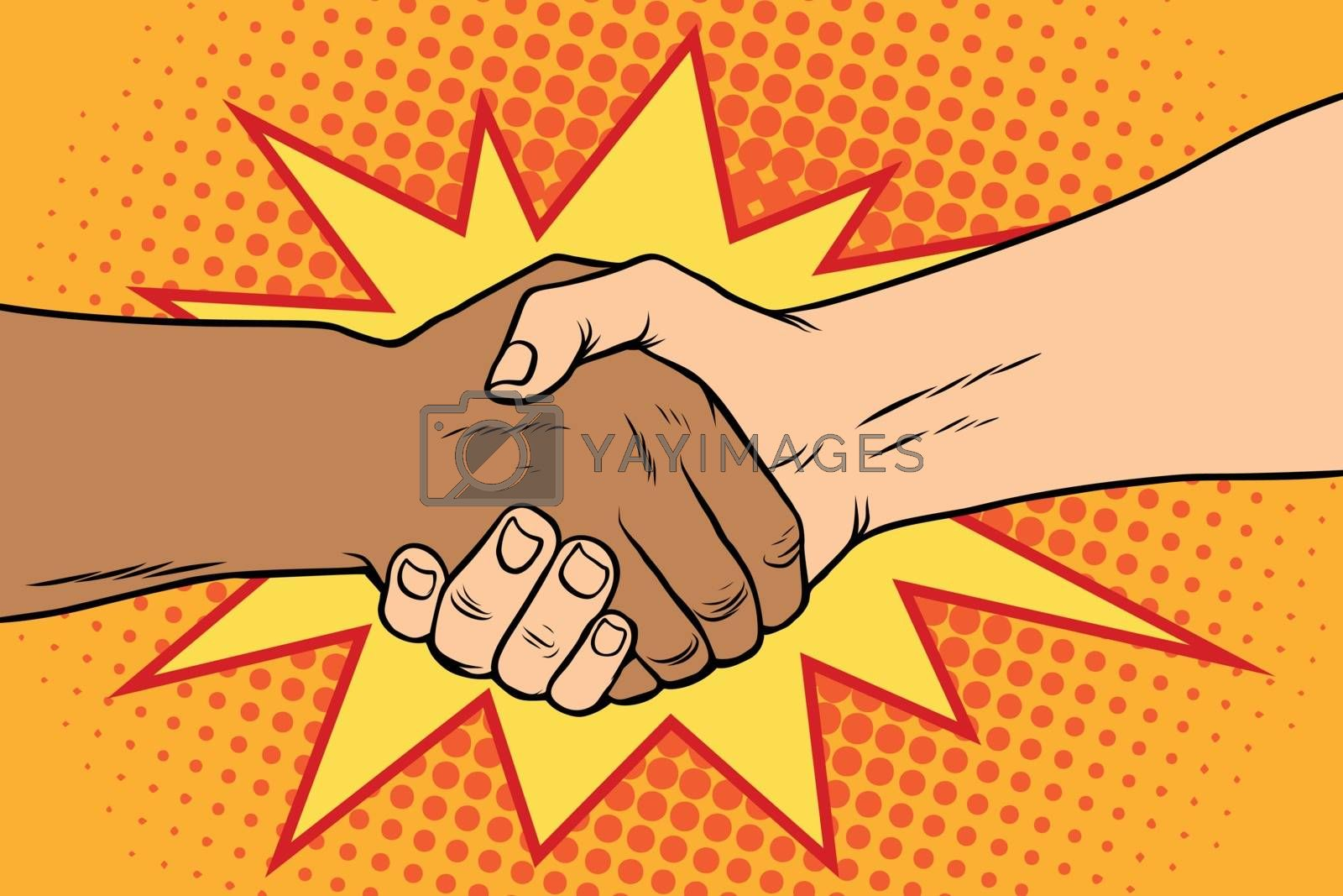 Handshake black and white, African and Caucasian people by studiostoks