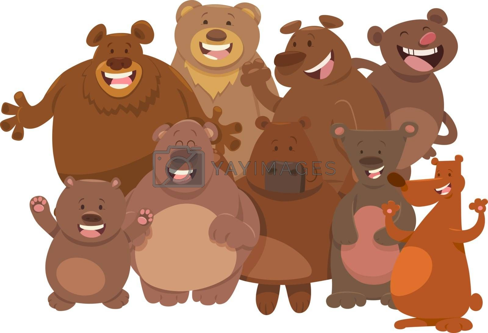 cartoon wild bears animal characters group by izakowski
