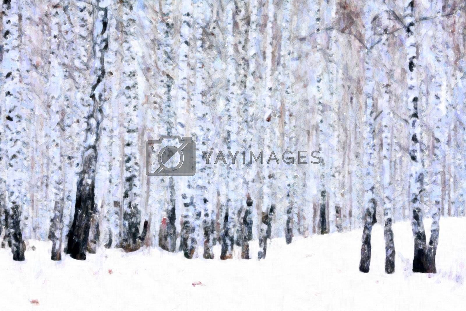 Birch forest in winter, oil paint stylization