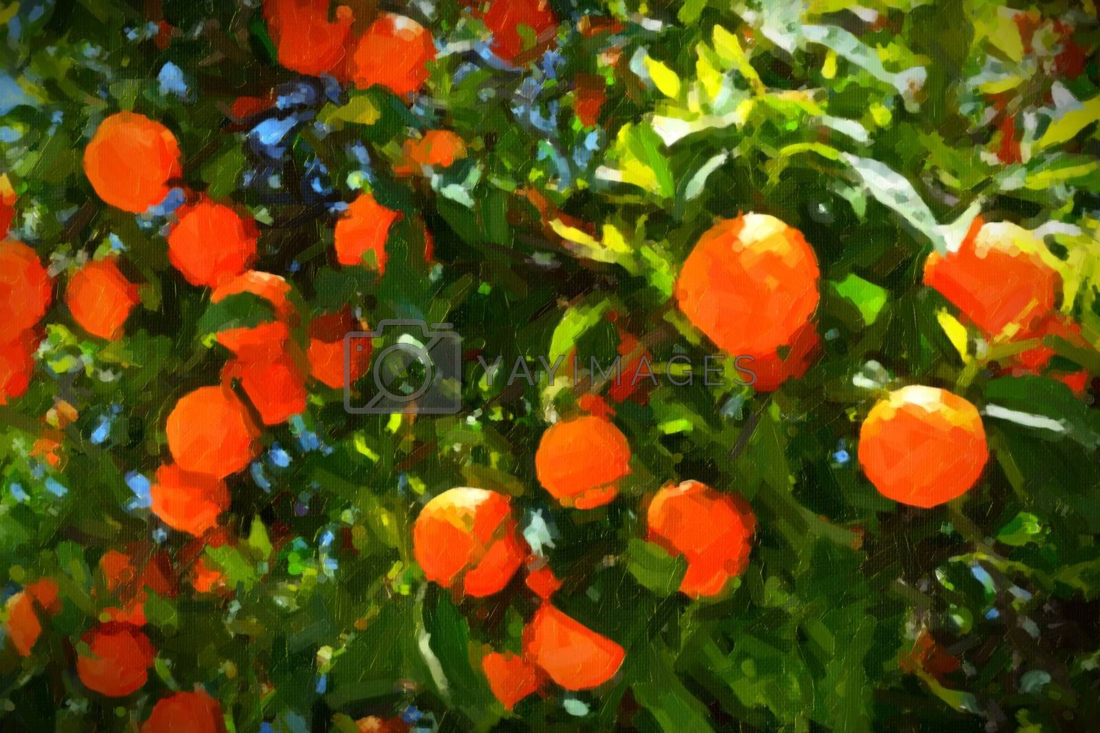 Oranges on the tree, thick paint stylization