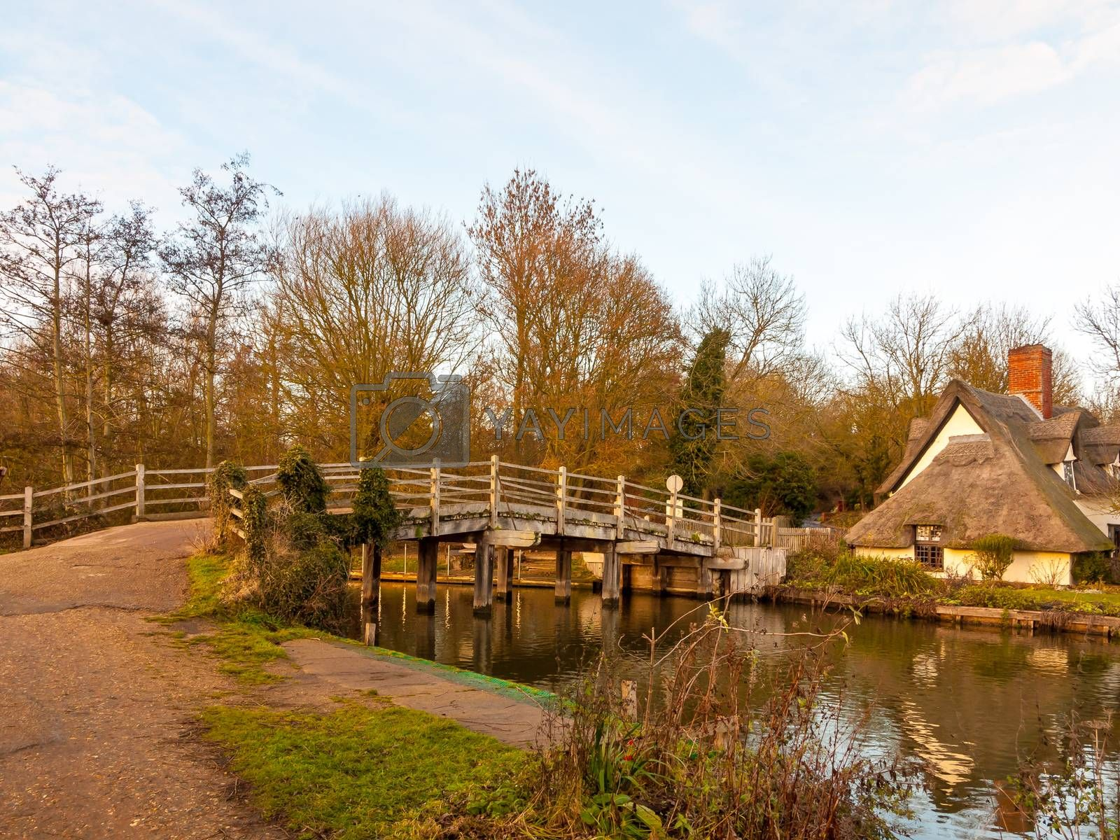 famous wooden bridge flatford mill suffolk river no people cotta by callumrc