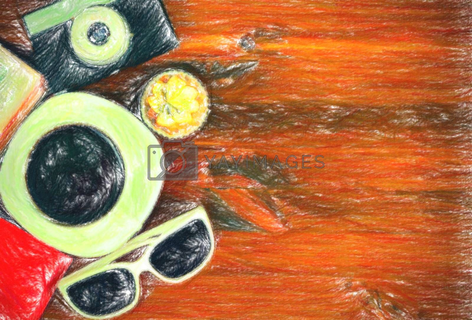 Retro photo camera, coffee cup, passport, sunglasses and cupcake on brown wooden table with space for text, top view.