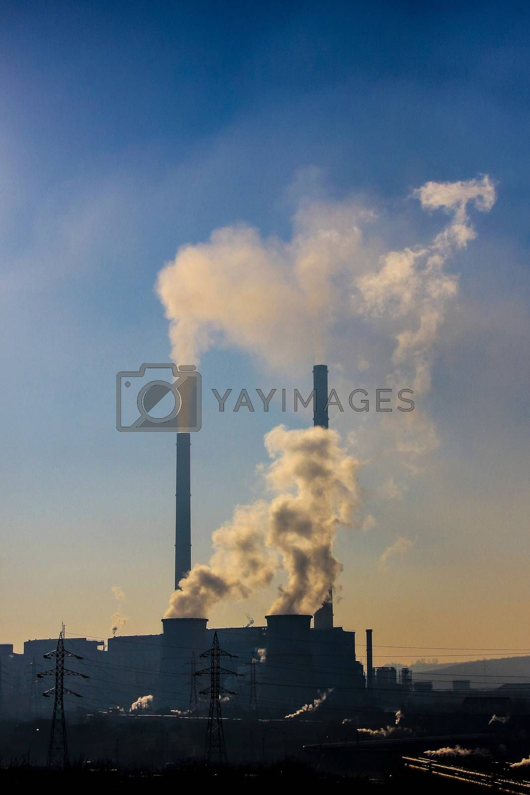 Thick smoke Air pollution from high and low furnaces  in an indu by shoricelu