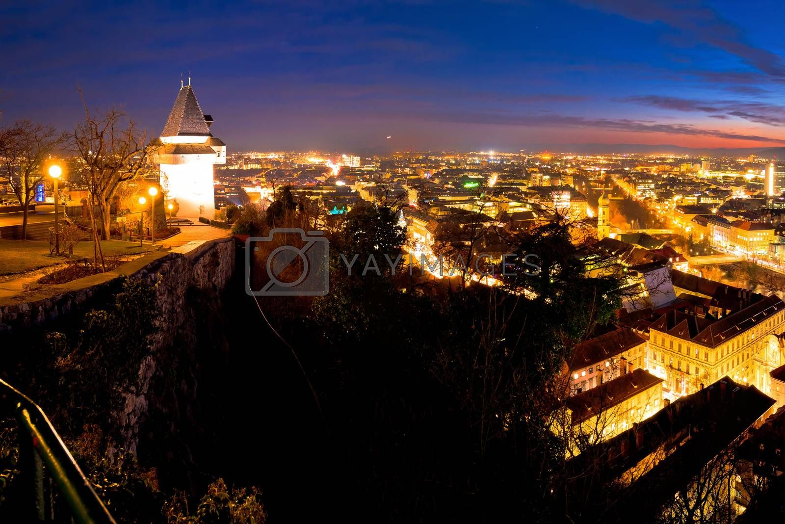 Graz aerial night panoramic view from Schlossberg by xbrchx