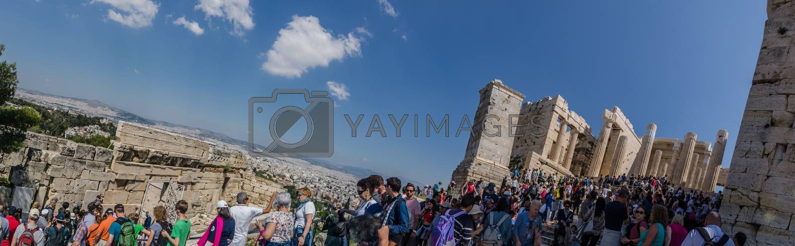 many tourists at Acropolis panorama view