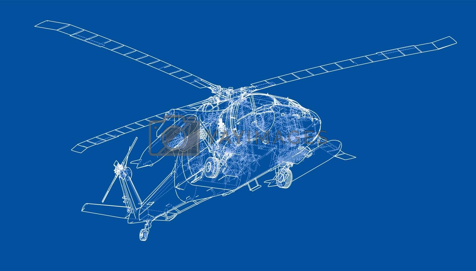 Helicopter outline. Military equipment by cherezoff