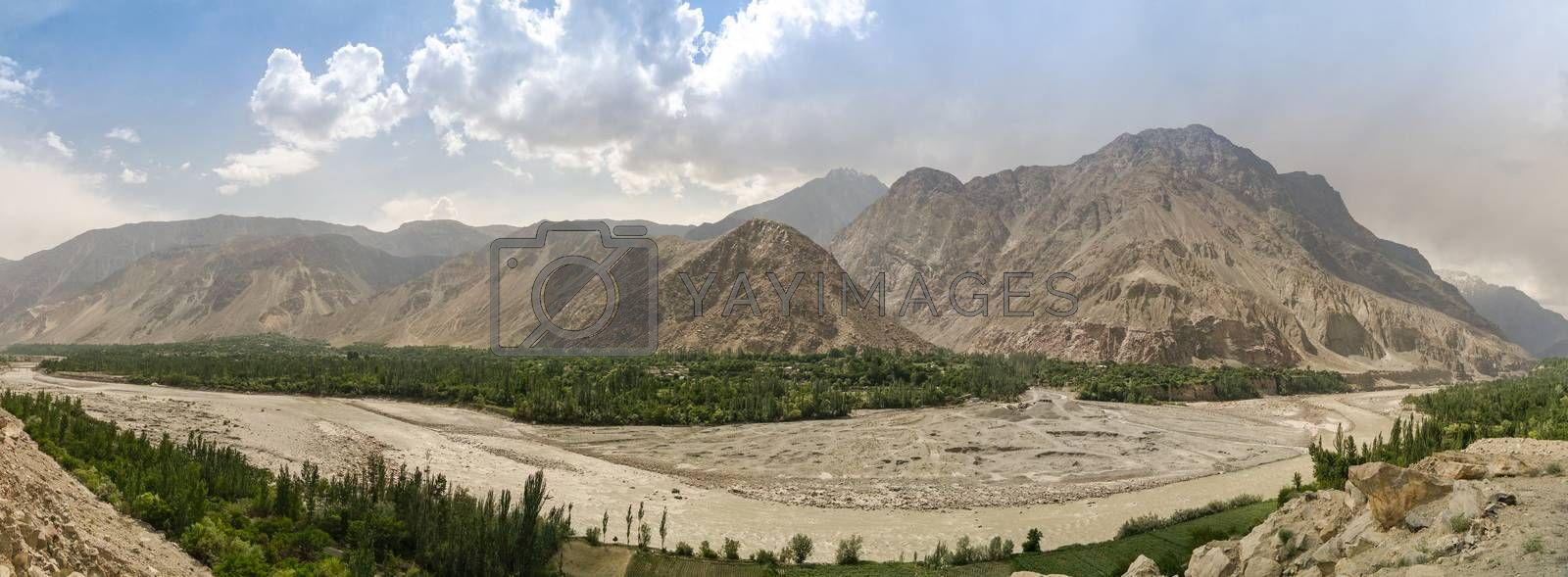 View to Hunza river and valley Pakistan by HomoCosmicos