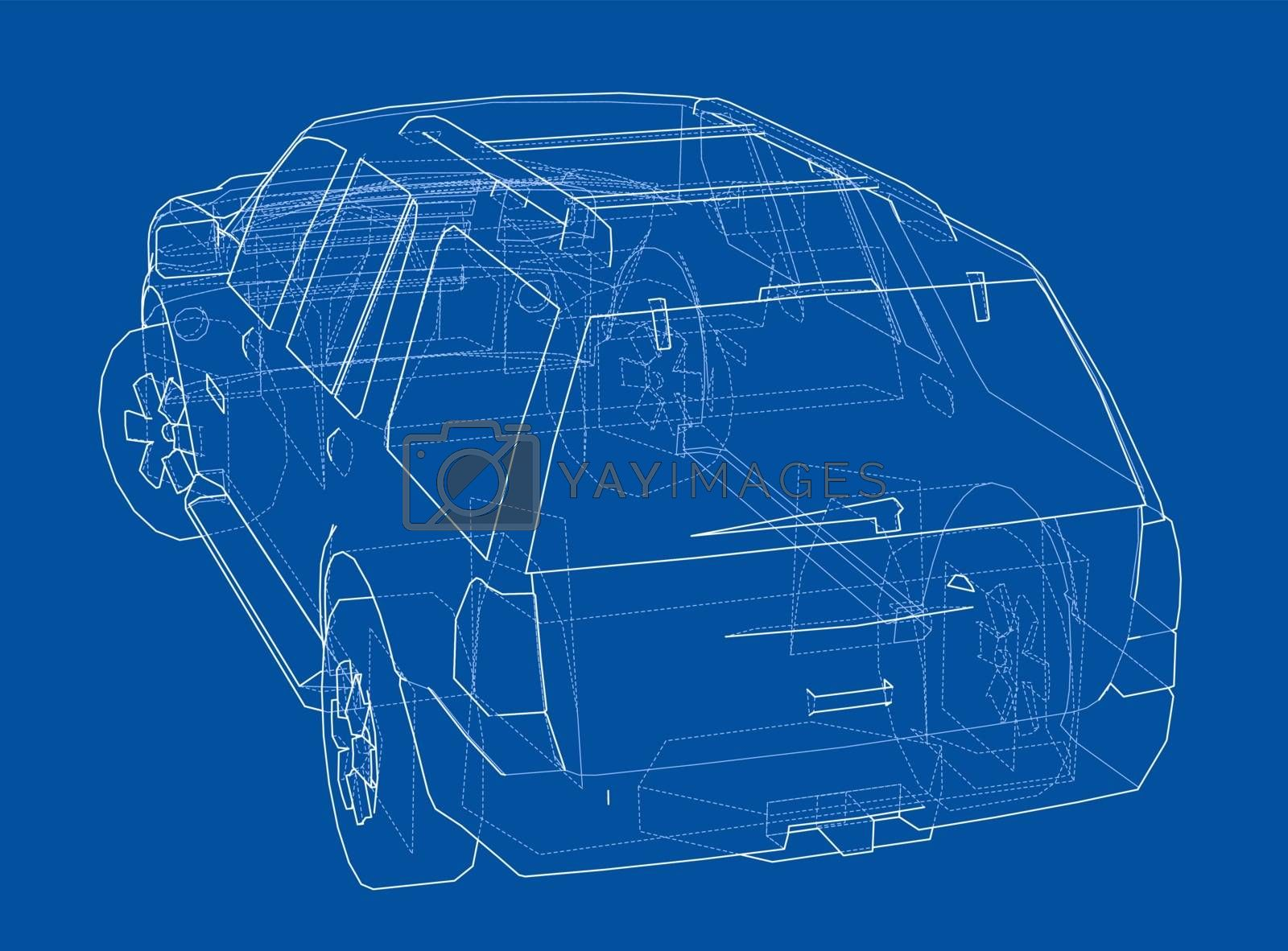 Car SUV drawing outline. Vector by cherezoff