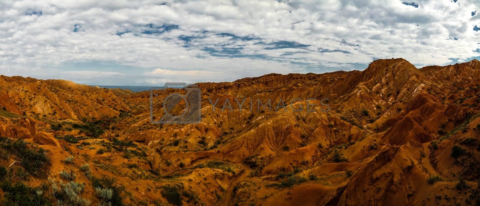 Panorama of Skazka aka Fairytale canyon, Issyk-Kul Kyrgyzstan by HomoCosmicos