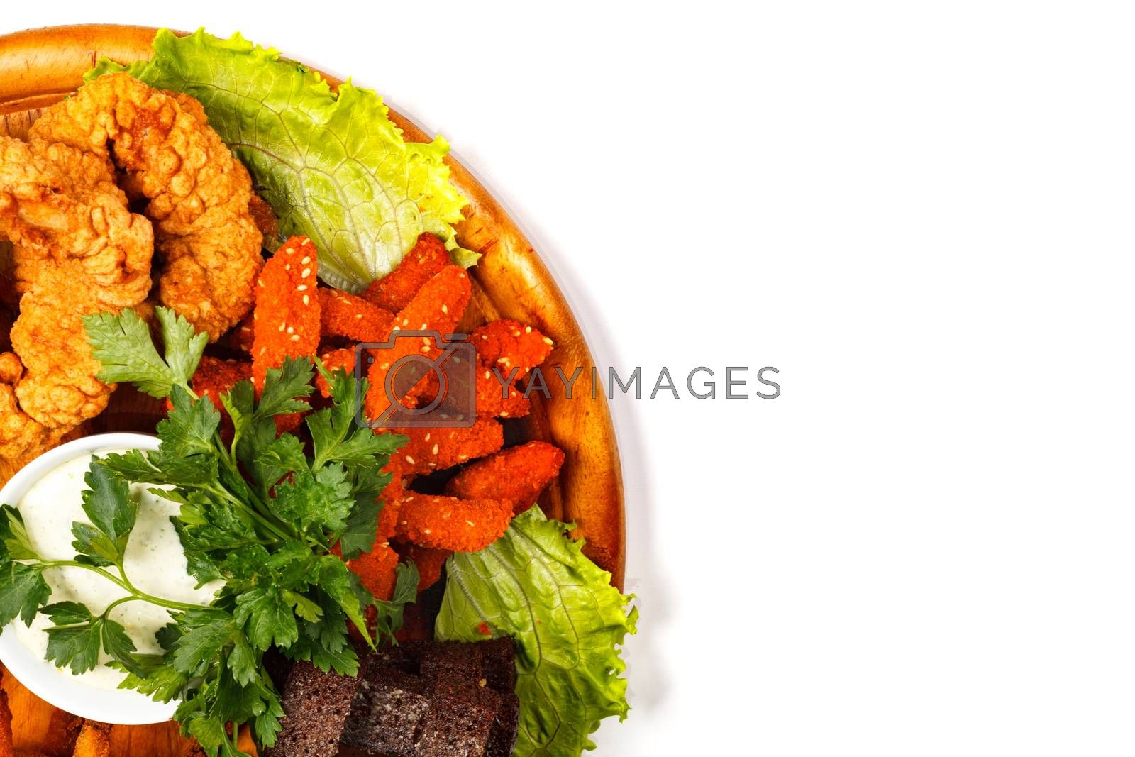 Closeup shot of a food tray full of tasty snacks, isolated on white background. Flat lay