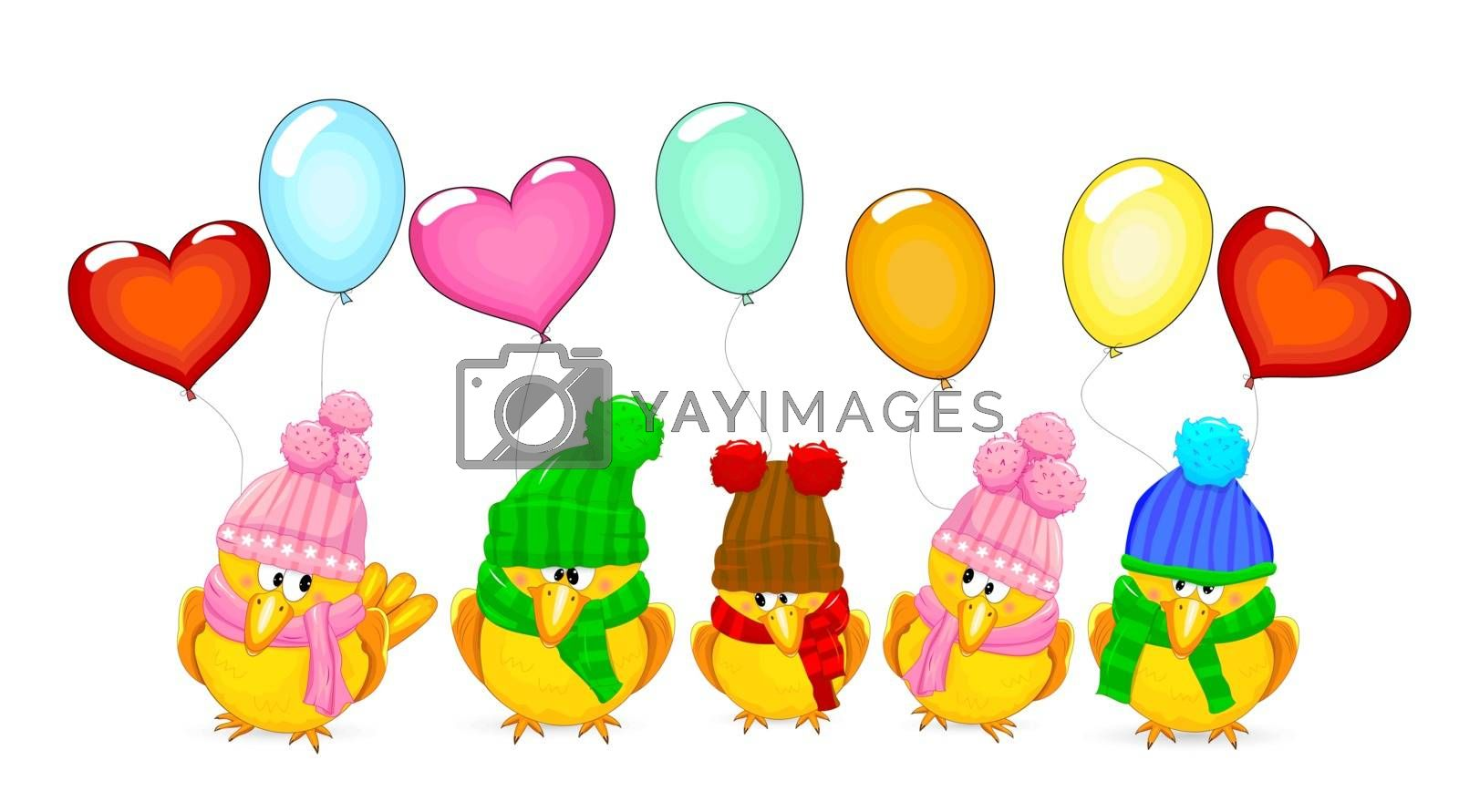 Birds with balloons on a white background. Birds dressed in knitted hats.