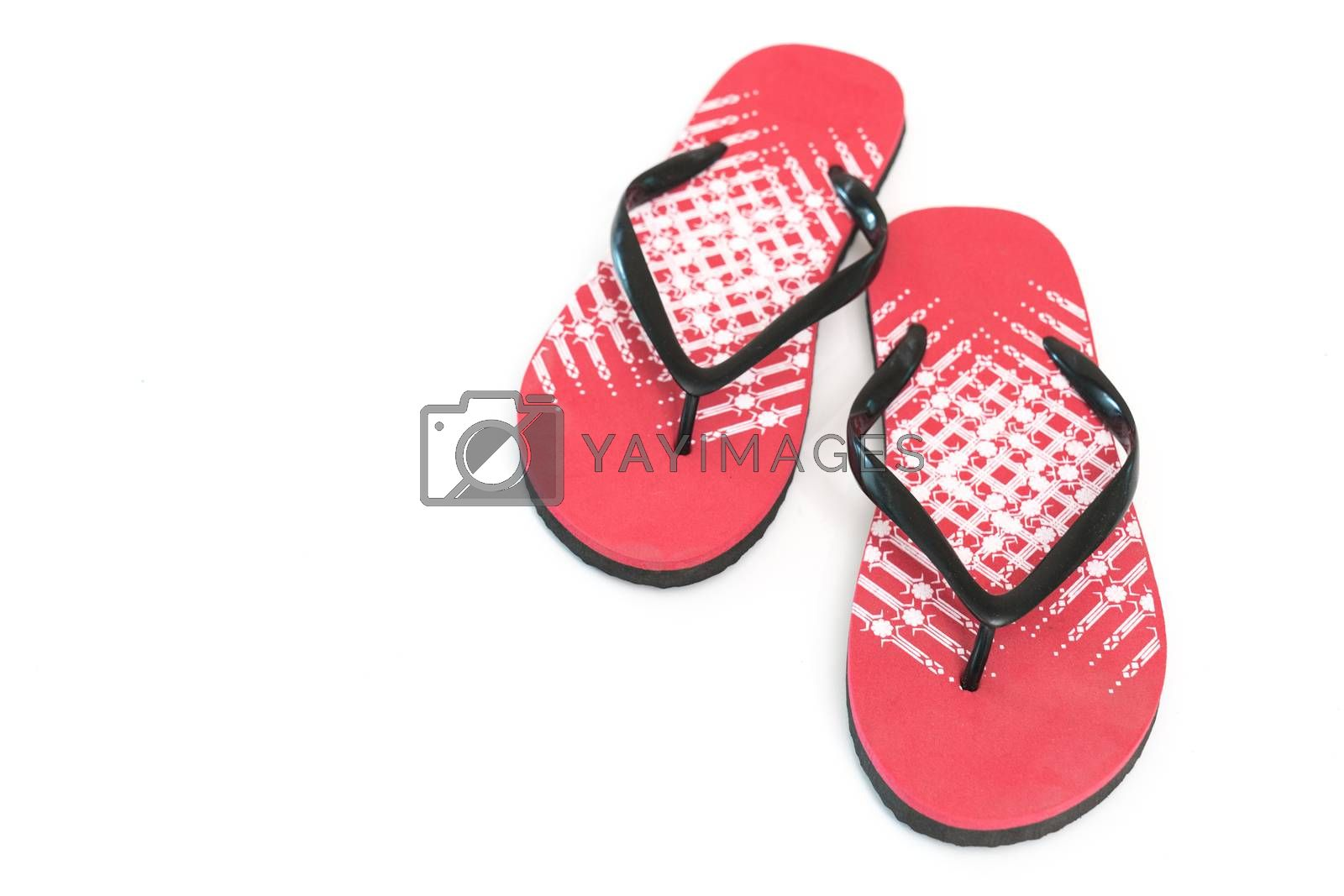 Red Flip Flops Featured on White Background Top View
