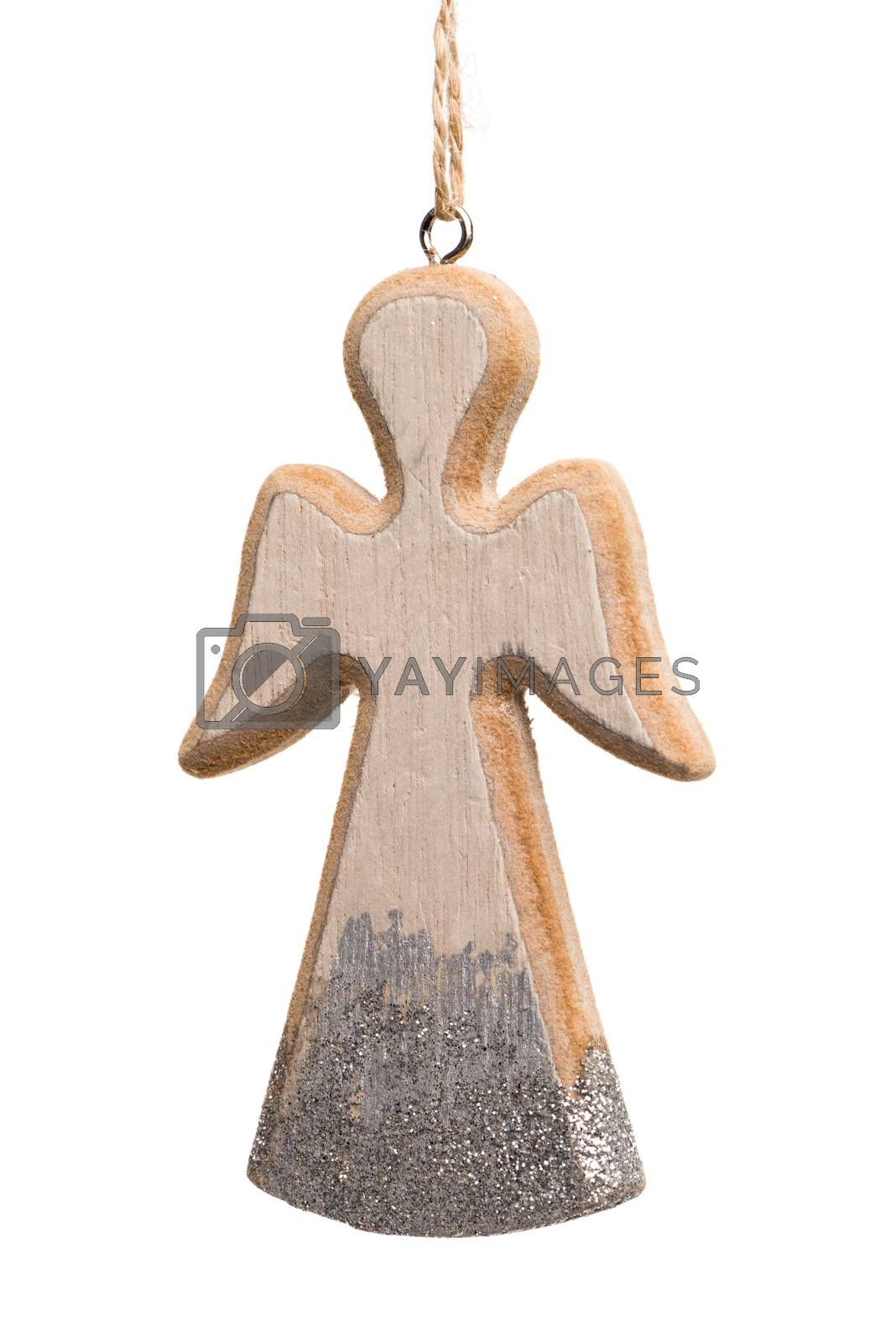 Christmas angel made of wood isolated on white background.
