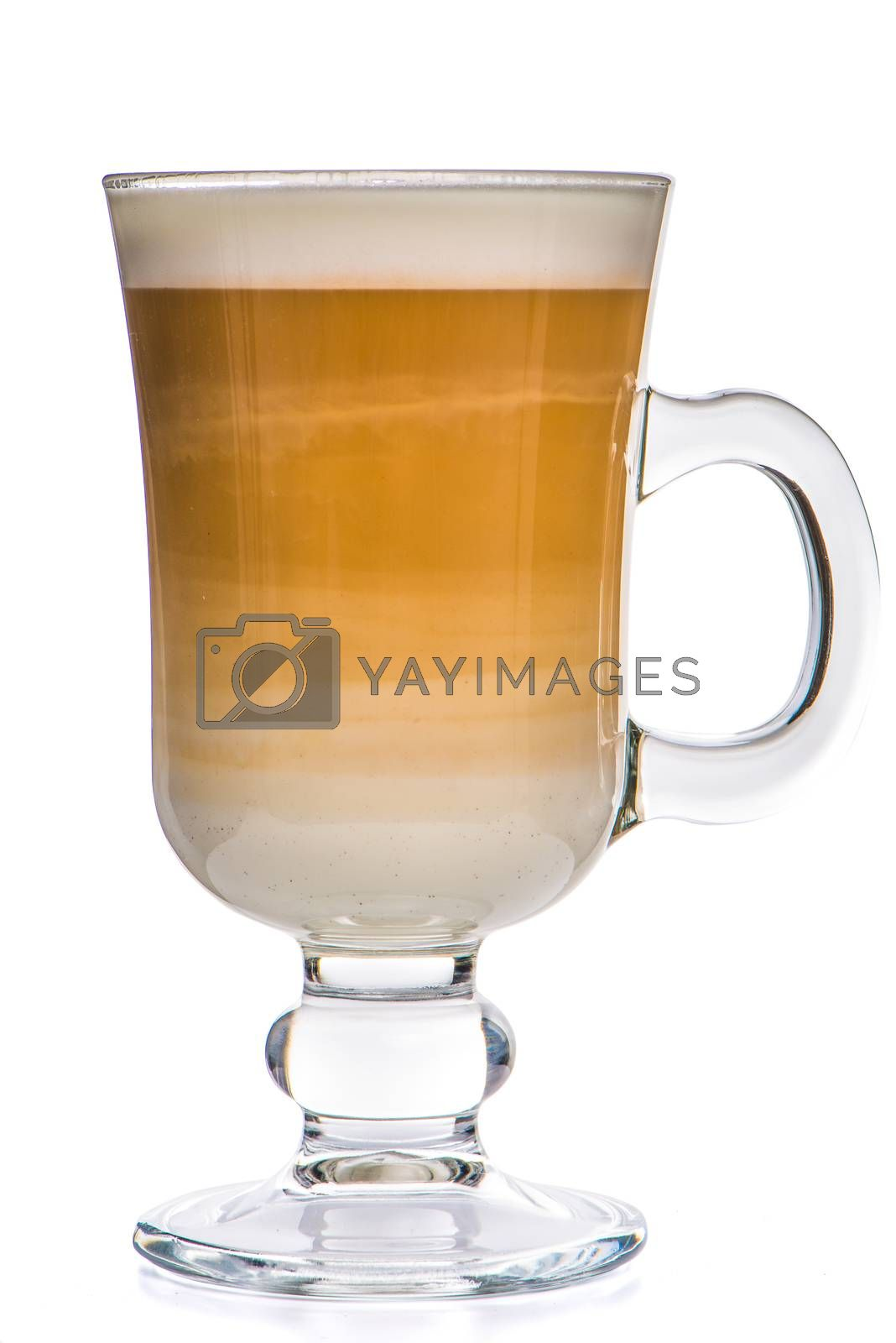 Glass cup mix latte coffee foam, white background